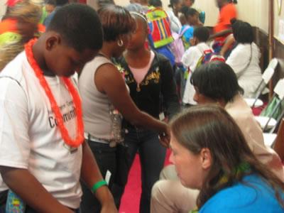 Prayer for children at Roseland's Back to School Rally